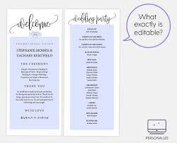 Wedding Bulletin Template Monogram Heart Black Wedding Program Template