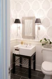 Simple But Elegant Home Interior Design Bathroom With A Lovely Wallpaper Wall Sconces E A Simple But