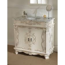 furniture white wooden carved bathroom vanity with sink with grey
