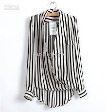 black and white striped blouse 2018 2013 fashion womens office chiffon v neck black