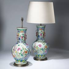 Large Chinese Vases Pair Of Large Blue Floral Chinese Ceramic Lamps On Distressed