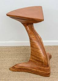 sculptural layered wood pedestal boomerang table at 1stdibs