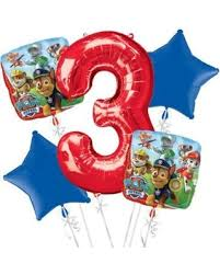 birthday party supplies bargains on paw patrol 3rd birthday balloon bouquet 5pc birthday
