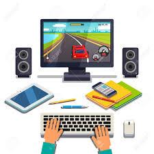 ordinateur de bureau jeux etudiant jeu sur un pc d ordinateur de bureau tablet téléphone