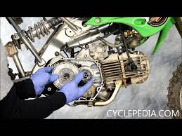 cyclepedia com kawasaki klx110 clutch cover install external shift