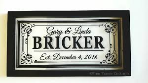 Last Name Wall Decor Last Name Floating Frame Personalized 16x8 Wedding Gifts