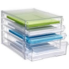 Desk Storage Organizers J Burrows Desktop File Storage Organiser 4 Drawer Clear Drawers