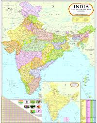 India Political Map Buy India Map With Telangana 100 X 140 Cm Book Online At Low