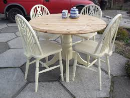 shabby chic round table shabby chic solid pine round table and 4 wheel back chairs in