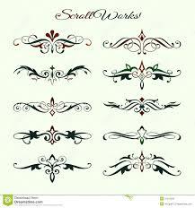scroll works design ornamental decorative element royalty free