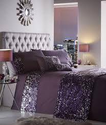 dazzle luxury sequin sparkle grey purple duvet cover bedding set