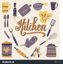 set kitchen utensils your design retro stock vector 281674424