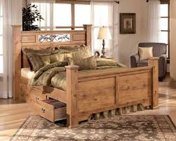 bedroom rustic bedroom design with brown pine master bed frame and