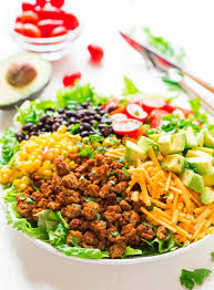 skinny taco salad with ground turkey and avocado