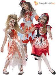 Girls Zombie Halloween Costume Age 4 12 Girls Zombie Princess Fairytale Costume Halloween Fancy
