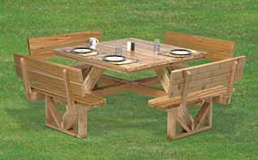 Wood Picnic Table Plans Free by Build Wooden Downloadable Square Picnic Table Plans Plans Download