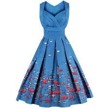 sweetheart neck cartoon print pin up dress in blue 3xl