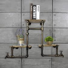 1pc vintage industrial iron pipes wall mounted wood bookshelves