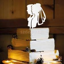 vintage wedding cake topper clear acrylic silhouette groom and