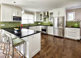 white kitchen with green tile for kitchen backsplash decor et moi