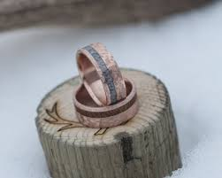 wood inlay wedding band vertigo in crosshatched 14k gold wood inlay available in