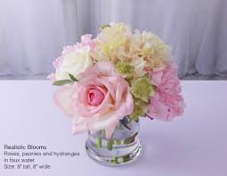 Peony Floral Arrangement by Cream Green Pink Silk Rose Roses Peony Peonies Faux Water