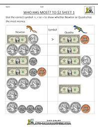 Worksheets For Math 2nd Grade Money Worksheets Up To 2
