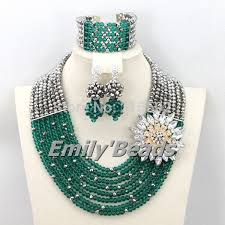 crystal bead necklace jewelry images Teal green nigerian wedding beads jewelry set silver african jpg