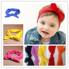cloth headbands wholesale baby girl elastic cloth rabbit ears bow headbands pink