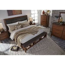 california king upholstered bed with bench storage footboard by