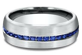mens blue wedding bands men s channel set blue sapphire comfort fit wedding ring 7 1 2 mm