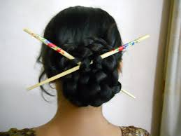 hair plait with chopstick super easy chinese braided bun