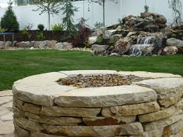 Flagstone Firepit Drystack Flagstone Gas Pit Chris Landscaping