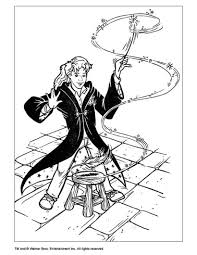 hermione with magic stick coloring pages hellokids com