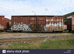 box car train boxcar on new england central railroad freight train stock photo