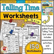 telling time assessment worksheet differentiated grade telling time worksheets by bite size