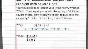 chemistry 101 dimensional analysis word problem with square units