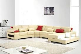 Cream Leather Chaise U Shape Cream Leather Sofa With Side Table Also Red Cream Cushions