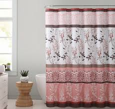 Brown And White Shower Curtains Coral Brown And White Fabric Shower Curtain With Printed Floral