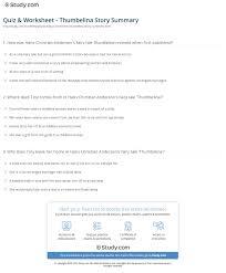 quiz u0026 worksheet thumbelina story summary study com