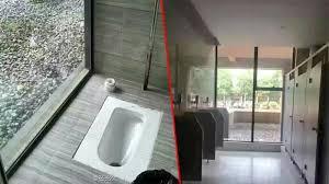 desain kamar mandi transparan waduh toilet kus ini dilapis kaca tembus pandang minat buang
