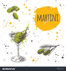 martini bar menu martini cocktail on watercolor splash hand stock vector 558411652