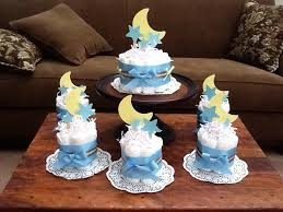 moon and stars whimsical diaper cake baby shower centerpiece