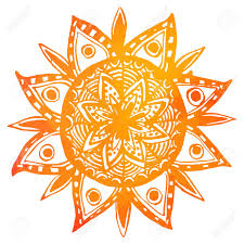 orange watercolor tribal sun vector indian mandala