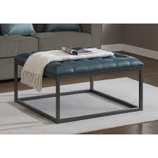 Tuffted Ottoman Carbon Loft Healy Teal Leather Tufted Ottoman Free Shipping