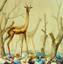 fantastical paintings of animals within post apocalyptic