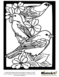 free coloring page favorite birds stained glass coloring book