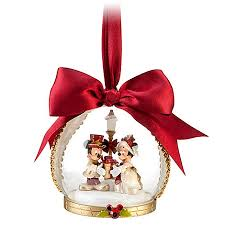 ornament minnie and mickey mouse globe