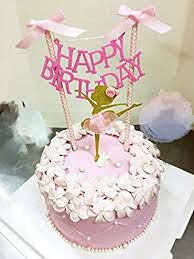 ballerina cake toppers happy birthday cake bunting topper with pink bows and