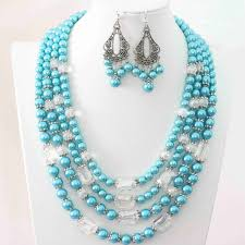 blue shell necklace images Buy blue shell simulated pearl white crystal jpg